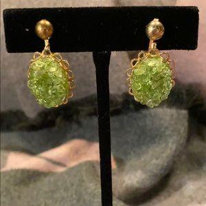 Jewelry - Vintage Green Dangle Clip On Earrings Goldtone